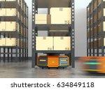 orange robots carrying pallets