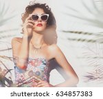 summer style portrait of young... | Shutterstock . vector #634857383