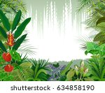 illustration of tropical forest | Shutterstock .eps vector #634858190