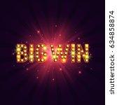 shining retro sign big win... | Shutterstock .eps vector #634858874