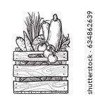 fresh vegetables in box.... | Shutterstock .eps vector #634862639