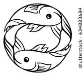 a pisces fish horoscope... | Shutterstock .eps vector #634883684