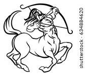 a circular sagittarius archer... | Shutterstock .eps vector #634884620