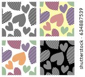 set of seamless vector patterns ... | Shutterstock .eps vector #634887539