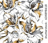 Seamless Pattern With Gold Lil...