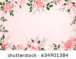greeting card with roses ... | Shutterstock . vector #634901384