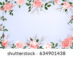 greeting card with roses ... | Shutterstock . vector #634901438