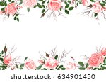 greeting card with roses ... | Shutterstock . vector #634901450
