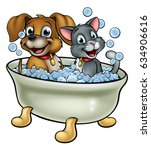 Stock photo cartoon cat and dog pets washing in the bath with bubbles 634906616