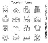 tourism icon set in thin line... | Shutterstock .eps vector #634921844