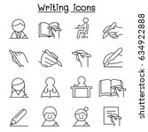 writing icon set in thin line... | Shutterstock .eps vector #634922888