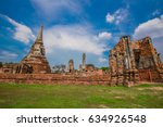 mahathat temple in ayutthaya... | Shutterstock . vector #634926548
