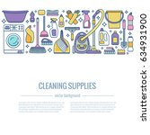 household cleaning supplies... | Shutterstock .eps vector #634931900