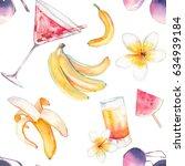 watercolor summer seamless...   Shutterstock . vector #634939184