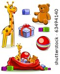 set toy with bag for christmas... | Shutterstock .eps vector #63494140
