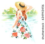 girl in straw hat and vintage... | Shutterstock . vector #634943456