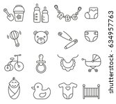 baby icons set | Shutterstock .eps vector #634957763