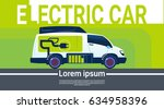 electrical car at charging... | Shutterstock .eps vector #634958396