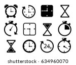 time and clock icons on white... | Shutterstock .eps vector #634960070