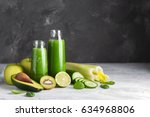 fresh green smoothies from the... | Shutterstock . vector #634968806