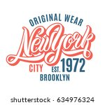 new york city t shirt design.... | Shutterstock .eps vector #634976324