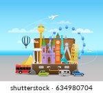 vacation travelling composition ... | Shutterstock .eps vector #634980704