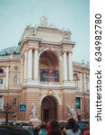 Small photo of 14 July 2016 - Odessa, Ukraine. Odessa National Academic Opera and Ballet Theater - the oldest opera Ukraine. The theater building is made in the style of Viennese baroque.