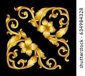 hand draw vintage baroque frame ... | Shutterstock .eps vector #634984328