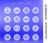 set of 16 computer outline... | Shutterstock .eps vector #634988870