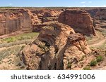 sandstone buttes in a canyon de ... | Shutterstock . vector #634991006