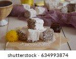 tea drinking with marshmallows | Shutterstock . vector #634993874