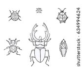 set hand drawn doodle insects | Shutterstock .eps vector #634994624