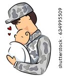 illustration of a father in... | Shutterstock .eps vector #634995509