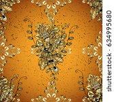 vector golden pattern on yellow ...   Shutterstock .eps vector #634995680