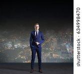 Businessman Standing Night City Background - Fine Art prints
