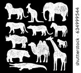 set of wild animals.vector hand ... | Shutterstock .eps vector #634999544