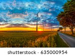 sunset rural road landscape.... | Shutterstock . vector #635000954