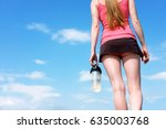 redhead girl is walking with... | Shutterstock . vector #635003768