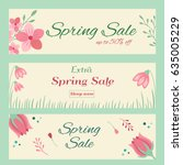 spring sale banners with floral ... | Shutterstock .eps vector #635005229