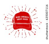 red baseball cap on white. usa. ... | Shutterstock .eps vector #635007116