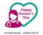 happy doctor's day   woman  man ... | Shutterstock .eps vector #635011874