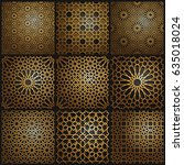 set of islamic oriental... | Shutterstock .eps vector #635018024