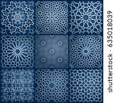 set of islamic oriental... | Shutterstock .eps vector #635018039