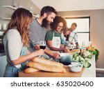 large group of six friends... | Shutterstock . vector #635020400