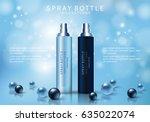 spray bottle isolated on blue... | Shutterstock .eps vector #635022074