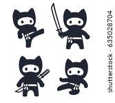 cute cartoon ninja cat set.... | Shutterstock . vector #635028704