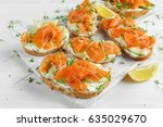 smoked salmon bruschettas with... | Shutterstock . vector #635029670