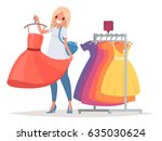 women's shopping. the girl is... | Shutterstock .eps vector #635030624