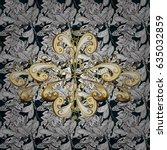 seamless pattern on blue... | Shutterstock .eps vector #635032859