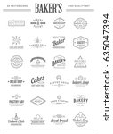 set of vector bakery pastry... | Shutterstock .eps vector #635047394